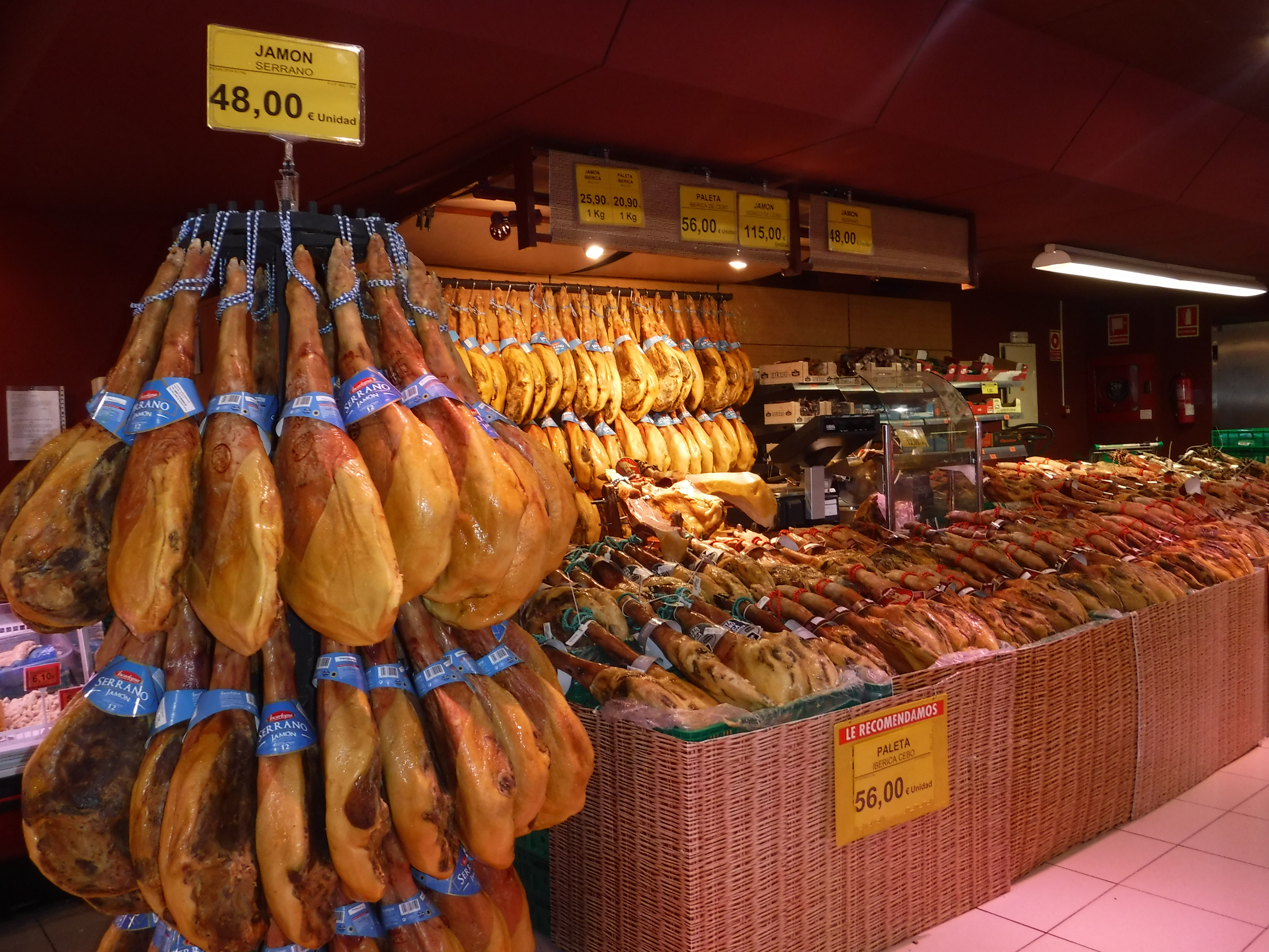 Jamon on display in our local supermercado.