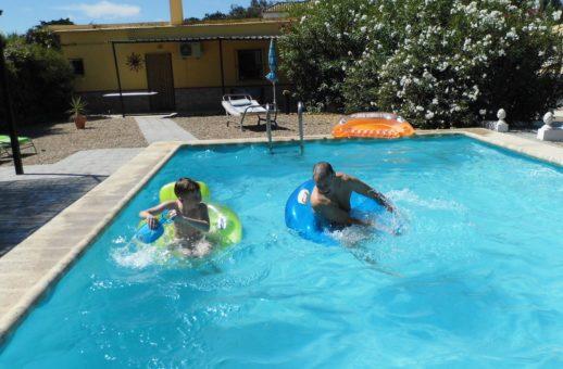 Grandad and Grandson having fun.
