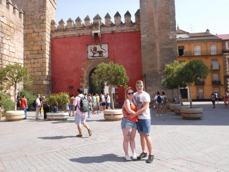 Christian and Georgia outside the Alcazar, Seville.